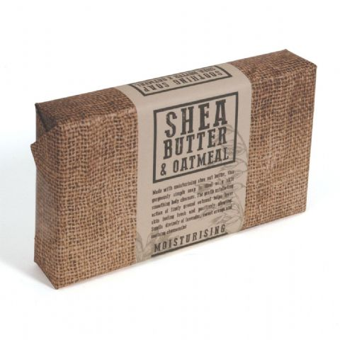 Shea Butter & Oatmeal Moisturising Exfoliating Glycerin Soap Slice - Bath Bubble & Beyond 120g
